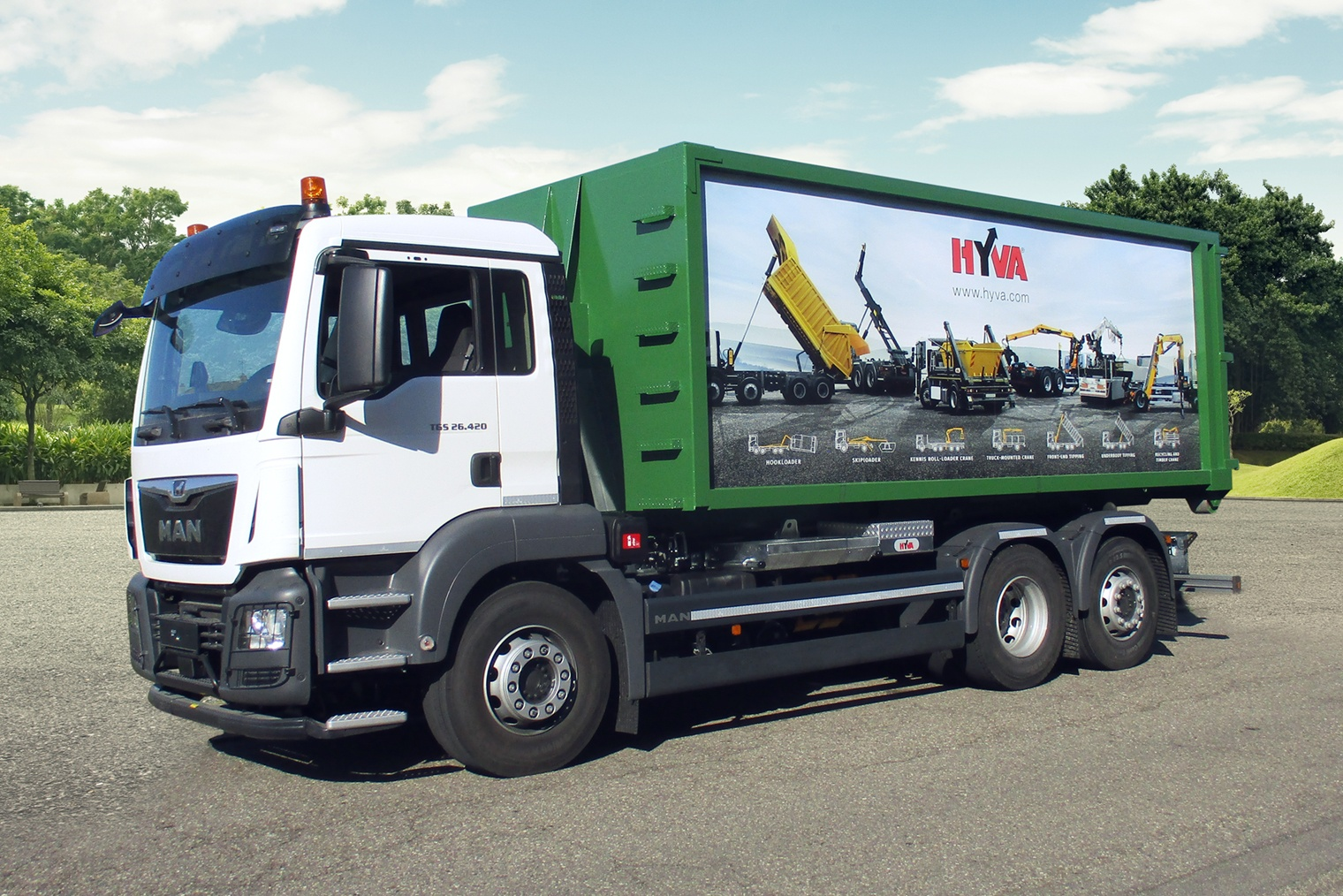 Innovative graphic design and photoshop composite creation for Hyva trucks transport in Europe Netherlands UK Germany